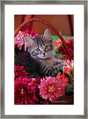 Framed Print featuring the photograph Pele In The Flowers by Kenny Francis