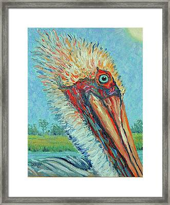 Framed Print featuring the painting Pelican After Style Of Van Gogh by Dwain Ray