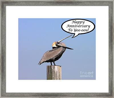 Pelican Anniversary Card Framed Print by Al Powell Photography USA
