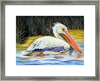 Pelican At East Pearl Framed Print by Phyllis Beiser
