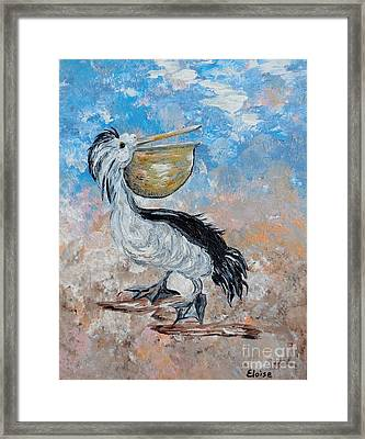 Framed Print featuring the painting Pelican Beach Walk - Impressionist by Eloise Schneider