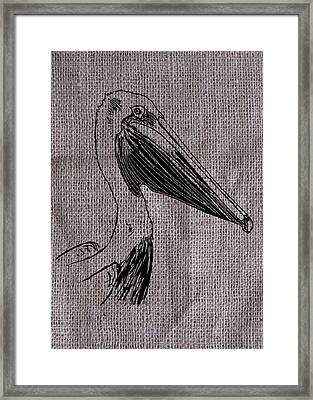 Pelican On Burlap Framed Print