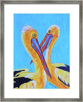 Framed Print featuring the painting Pelican Pals by Margaret Saheed
