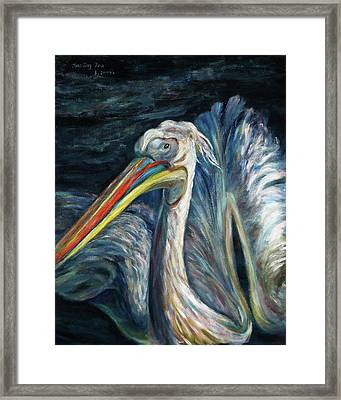 Framed Print featuring the painting Pelican by Xueling Zou