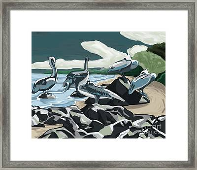 Framed Print featuring the painting Pelicans And Friends At Seashore by Tim Gilliland