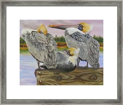 Pelicans Flocking Around Framed Print