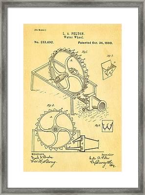 Pelton Water Wheel Patent Art 1880 Framed Print by Ian Monk