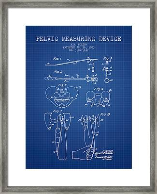Pelvic Measuring Device Patent From 1963 - Blueprint Framed Print by Aged Pixel