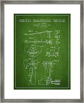 Pelvic Measuring Device Patent From 1963 - Green Framed Print by Aged Pixel