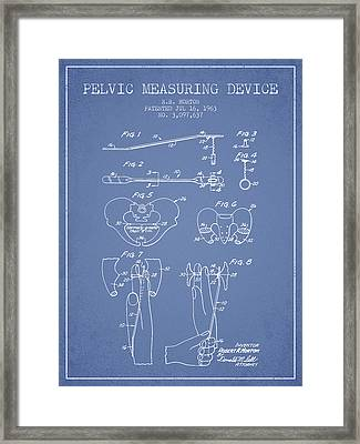 Pelvic Measuring Device Patent From 1963 - Light Blue Framed Print by Aged Pixel