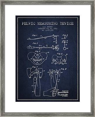 Pelvic Measuring Device Patent From 1963 - Navy Blue Framed Print by Aged Pixel