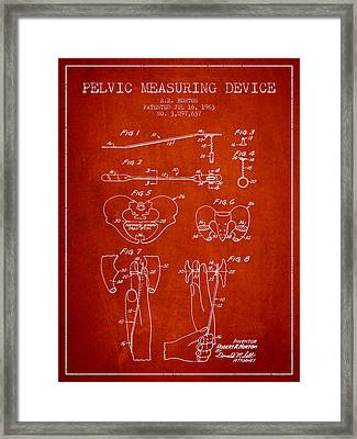 Pelvic Measuring Device Patent From 1963 - Red Framed Print by Aged Pixel
