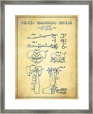 Pelvic Measuring Device Patent From 1963 - Vintage Framed Print by Aged Pixel