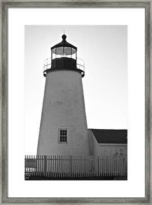 Framed Print featuring the photograph Pemaquid Lighthouse Black And White by Amazing Jules