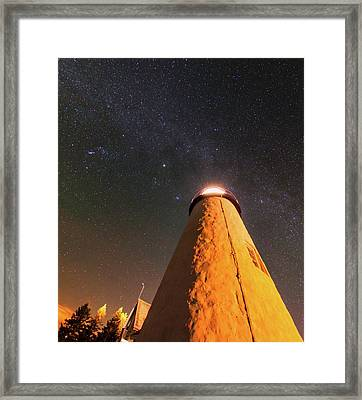 Pemaquid Point Lighthouse And Night Sky Framed Print by Babak Tafreshi