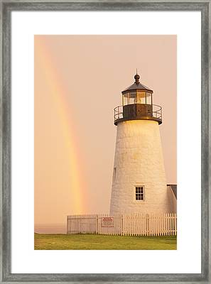 Pemaquid Point Lighthouse And Rainbow In Maine  Framed Print by Keith Webber Jr