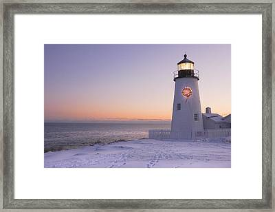 Pemaquid Point Lighthouse And Snow Maine Coast Framed Print