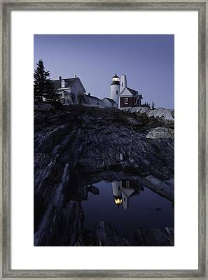 Pemaquid Point Lighthouse At Night In Maine Framed Print