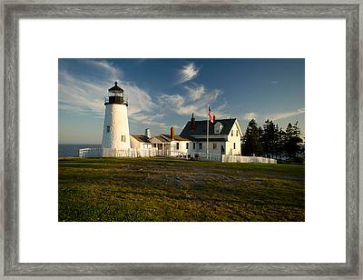 Pemaquid Point Lighthouse At Sunset Framed Print by Gordon Ripley
