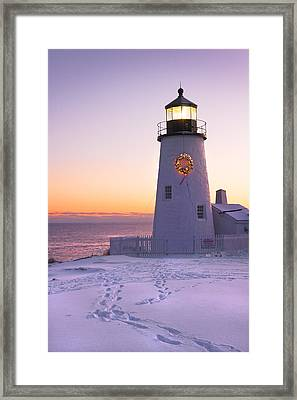 Pemaquid Point Lighthouse Christmas Snow Wreath Maine Framed Print