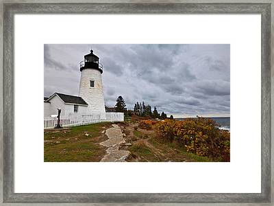 Stormy Autumn Day At Pemaquid Point Lighthouse Framed Print by David Smith
