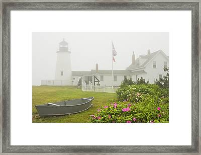 Pemaquid Point Lighthouse In Fog Maine Prints Framed Print