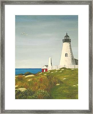Pemaquid Point Lighthouse Framed Print by Janet Guss