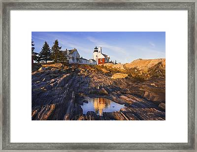 Pemaquid Point Lighthouse Reflection On The Coast Of Maine  Framed Print