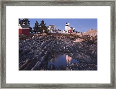 Pemaquid Point Lighthouse Tide Pool Reflection On Maine Coast Framed Print