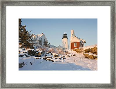 Pemaquid Point Lighthouse Winter In Maine  Framed Print by Keith Webber Jr