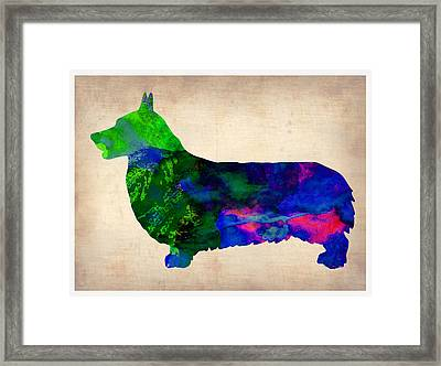 Pembroke Welsh Watercolor Framed Print by Naxart Studio