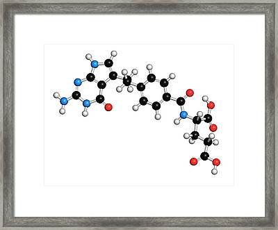 Pemetrexed Lung Cancer Drug Molecule Framed Print by Molekuul