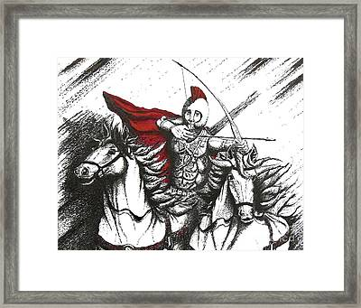 Pen And Ink Drawing Of Soldier With Horses Framed Print by Mario Perez