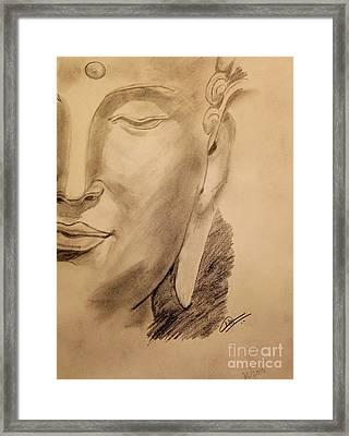 Pencil Buddha  Framed Print by Navroz  Raje