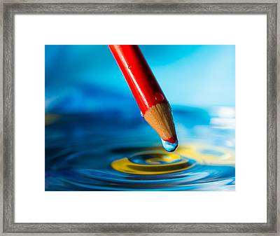 Pencil Water Drop Framed Print