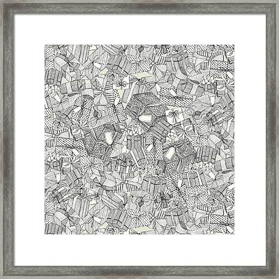 Pencil Parcels Ivory Framed Print