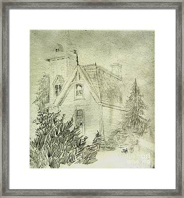 Pencil Sketch Of Old House Framed Print