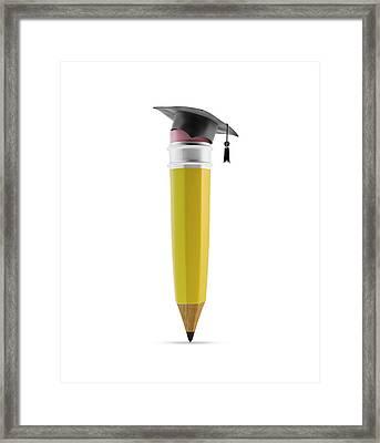 Pencil With Graduation Cap Framed Print by Andrzej Wojcicki