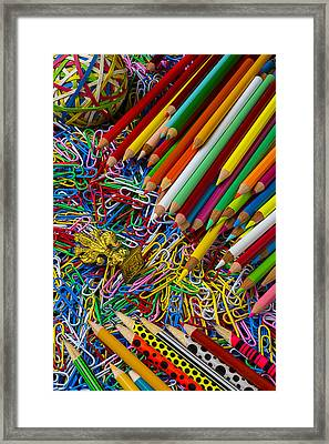 Pencils And Paperclips Framed Print by Garry Gay