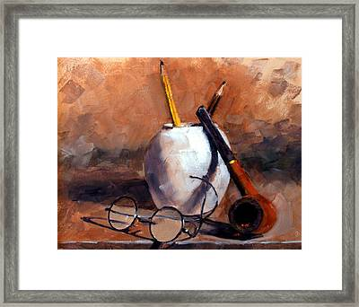 Pencils And Pipe Framed Print