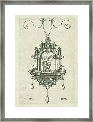 Pendant Pendeloque With A Winged Woman With Snake Sword Framed Print by Monogrammist Evg