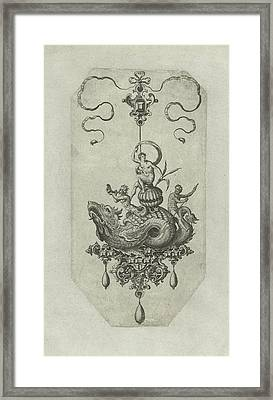 Pendant With Dragon With A Double Shell On His Back Framed Print by Adriaen Collaert And Hans Collaert I And Philips Galle
