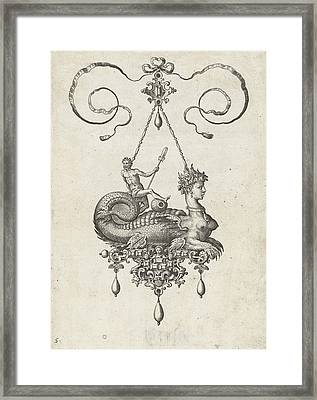 Pendant With Sphinx, Adriaen Collaert, Hans Collaert Framed Print by Adriaen Collaert And Hans Collaert (i) And Philips Galle