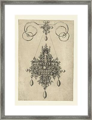 Pendant With Victoria, Laurel Wreath In Hand Framed Print by Anonymous And Hans Collaert (i) And Philips Galle