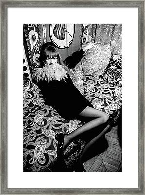 Penelope Tree Sitting On A Paisley Couch Framed Print