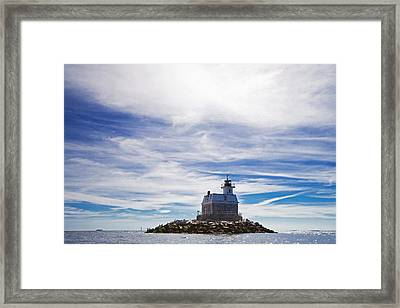 Penfield Reef Lighthouse Fairfield Connecticut Framed Print by Stephanie McDowell