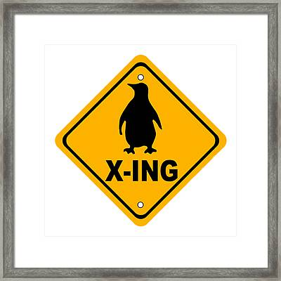 Penguin Crossing Sign Framed Print