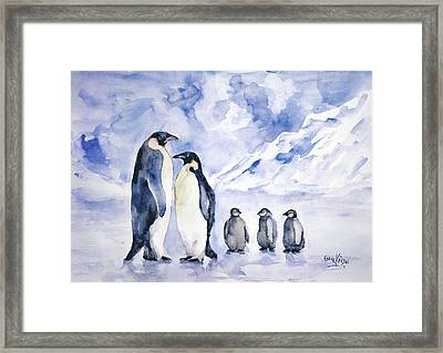 Framed Print featuring the painting Penguin Family by Faruk Koksal