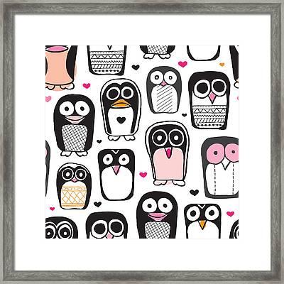 Penguin Kids Art Framed Print