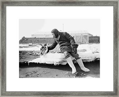 Penguin With An Antarctic Explorer Framed Print